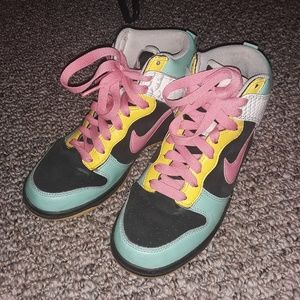 Pink, Teal, and Yellow Nike Dunks